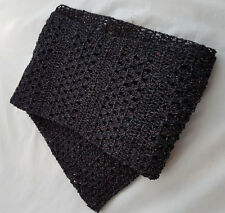 Knitwitz Hand Crochet Cotton and Silk Scarf/Shawl Black with Silk and Cotton.