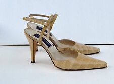 Ralph Lauren crock embossed almond Beige heels Shoes Sz 6