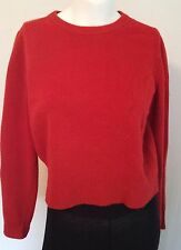 Marc Jacobs deep red wool cropped crew neck sweater cable shoulders M
