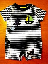 Gymboree-Baby Boys-Size 3-6 Months-Whale-Sailboat-1 Piece Shorts Romper-Outfit