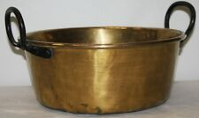Vintage Antique Brass Jam Pan Cooking Pot - Iron Handles Old Rivet
