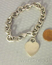 "authentic TIFFANY & CO NY 925 HEART CHARM BRACELET 7"" mono JLS sterling 35g"
