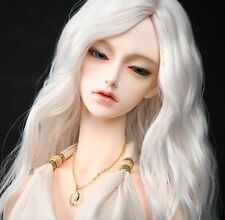 BJD Doll Wig 8-9 1/3 SD DZ DOD LUTS White Long Wavy Parted In The Middle