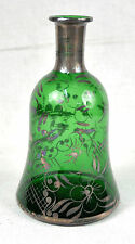 Green Glass Hand Painted Silver Venice Gondola Scene Overlay Bottle