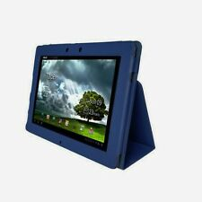 Genuine Leather Stand Case Cover for Asus Eee Pad Transformer Prime TF201 DBLUE