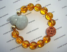 Feng Shui - Jade Wu Lou & I-Ching Coin with 12mm Citrine Mantra