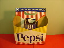 Original 1950's PEPSI COLA Cardboard Bottle Carrier for Six 16 Ounce Bottles