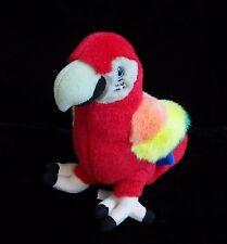 """Disney Parrot Macaw Plush Bird Soft Toy Disneyland WDW Stuffed Red 8"""""""