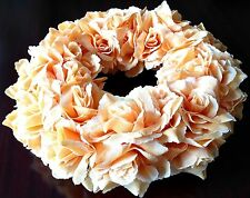 "NATURAL WICKER WREATH FLORAL ""PEACH"" WALL/DOOR/TABLE/WEDDING HANDMADE DECORATION"