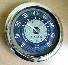 Classic Car Wall Clock 1960's VW Camper T1 Speedometer Style LARGE Chrome Clock