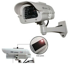 Solar Powered Dummy Surveillance Home Security Camera CCTV W/ LED Record Light