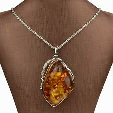 VTG Lady Silver Plated Big Drop Resin Amber Chain Pendant Necklace