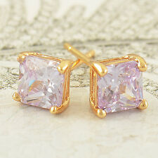 Yellow Gold Filled Purple CZ Square Fashion womens Stud Earrings forever lucky