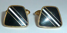 A VINTAGE PAIR OF GOLD TONE T-BAR CUFFLINKS WITH BLACK ONYX & MOTHER OF PEARL