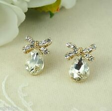 E6 Wedding Bridal Prom Party 18K Gold Plated Crystal Bow Teardrop Stud Earrings