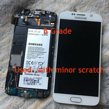 B Grade White Samsung Galaxy S6 G920A G920T Lcd Touch Screen Digitizer + Frame