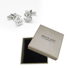 Mens Us Dollar Sign Currency Silver Cufflinks & Gift Box By Onyx Art