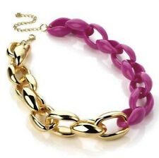 Fuchsia Pink Choker Necklace with Gold Chunky Links