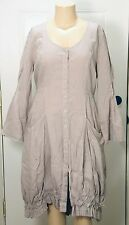 HEBBEDING GREY LINEN BUTTON-DOWN DRESS W/ PLEATING AT BOTTOM - TIES IN BACK SZ 2