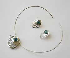 ECUADORIAN HAND CRAFTED STERLING SILVER GREEN AGATE EARRING & CHOKER SET