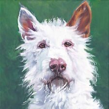 """wire coated Ibizan Hound portrait canvas Print of La Shepard dog painting 12x12"""""""
