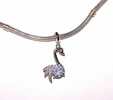 925 STERLING SILVER SWAN DANGLE CHARM WITH WHITE C Z STONE FOR CHARM BRACELET