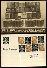 STAMP DEALER ADVERTISING 1937 SE TENANT Ka Be LABELS + EXHIBITION CANCEL GERMANY