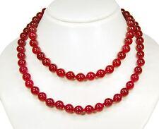 Außergewöhnlich schöne Halskette aus dem Rubin-Jade in Kugelform 90 cm lang