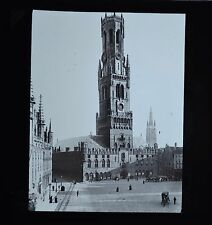Magic Lantern Slide Photo Belgium Bruges Belfry & Market Place Newton & Co
