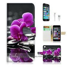 "iPhone 6 (4.7"") Print Flip Wallet Case Cover! Beautiful Purple Flower P0148"