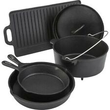 Camping Cookware Set Cast Iron 5 Piece Dutch Oven Skillet Pans Lid Griddle Pot