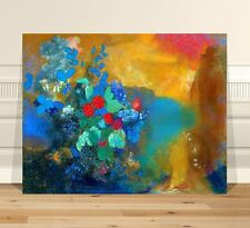 """Odion Redon Flowers ~ FINE ART CANVAS PRINT 16x12"""" ~ Abstract"""