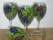 HAND PAINTED MULTI GRAPE SET /4 goblet GLASSES