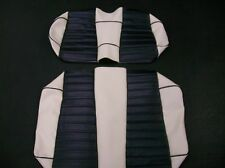 Club Car Precedent Golf Cart Deluxe™ Seat Covers-Staple On(WHT/BLK PLTD w/Ppng)