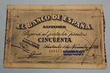 1936 SANTANDER 50 PESETAS BANCO DE ESPAÑA BANKNOTE SPAIN CIVIL WAR..