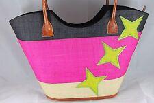 Precioso hechas a mano de 3 estrellas raffia-leather Bolso Shopper Tote 1 Poste LIBRE