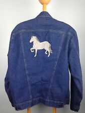 VTG Mens M Wrangler Jean Jacket Coat Embroidered Horse Trucker Denim Western