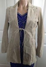 bebe Women's SUEDE Leather Blazer Jacket Coat Long Sleeve Beige sz XS S