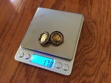 Vtg STAR Greek Goddess solid yellow 17.8 grams brass Coin Earrings no scrap