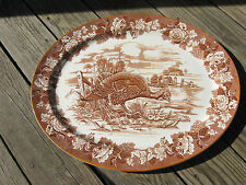 "WOODS BURSLEM BROWN LARGE TURKEY PLATTER 21"" ENGLAND"