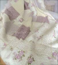 Double Bed Girls Lavender Cream Mauve Kids Cottage Patchwork Quilt Bedspread Set