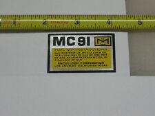 McCulloch Kart shroud decal MC-91 mc 91