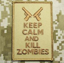 KEEP CALM AND & KILL ZOMBIES USA DESERT VELCRO® BRAND FASTENER MORALE PATCH