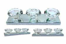 Shabby Chic Tea Light Holder Crystal Glass Diamante Sparkling Chrome 3 Candle