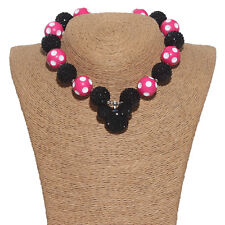 45cm Black Mickey Chunky Gumball Bead Bubblegum Necklace For Kids Christmas Gift