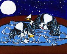 JAPANESE CHIN Hot Tub & Martini Dog Art PRINT Painting