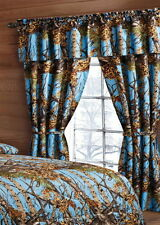 POWDER BLUE CURTAINS WOODS CAMO CAMOUFLAGE 5 PIECE SET FOREST WINDOW DRAPERY