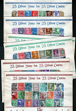 lot collection of 6 vintage World Wide stamp packets of 25 Stamps Used 150 1960s