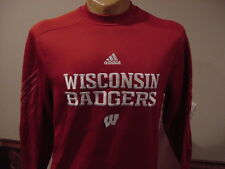 AWESOME Wisconsin Badger Men's Sm Red Adidas Climawarm Long Sleeved Shirt, NICE!
