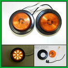 "(2) AMBER 9 LED Light Trailer 2"" round,w/2 plug, Grommet Clearance marker 2.0"""